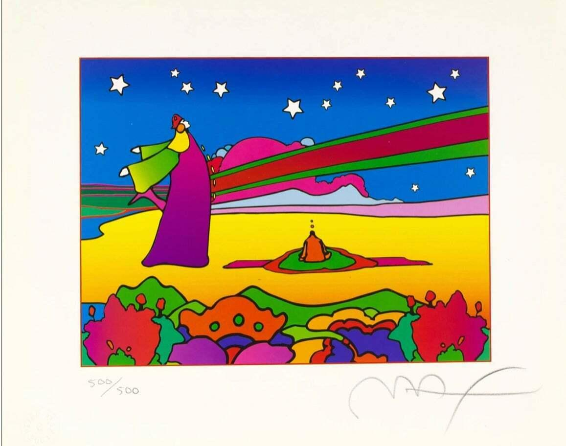 Two Cosmic Sages Ver II, Ltd Edition Lithograph, Peter Max - SIGNED