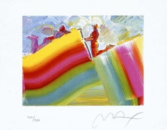 Two Figures On Rainbow, Ltd Edition Lithograph, Peter Max - SIGNED