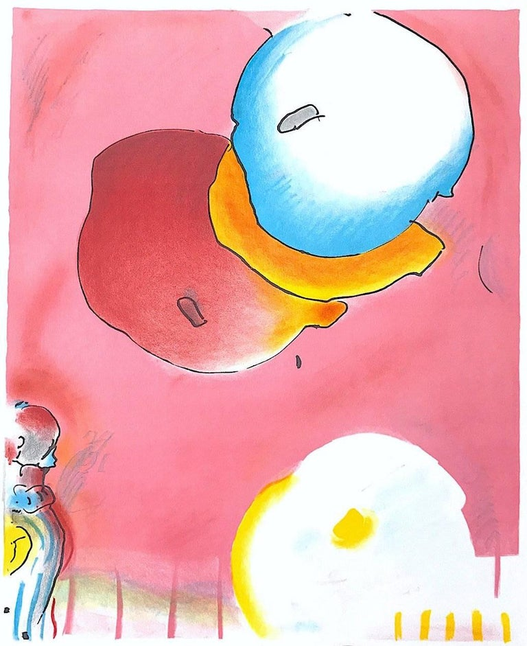 TWO FLOATING, Original Lithograph, Warm Pink, Yellow, Blue, Upbeat Abstract  - Pop Art Print by Peter Max