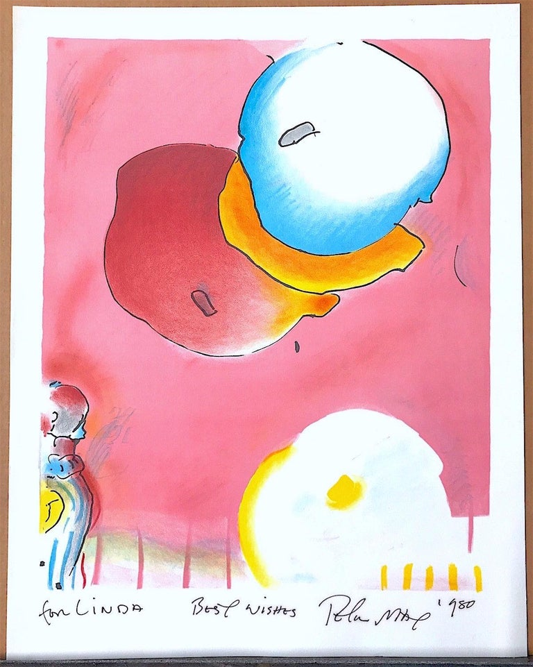 Two Floating is an original hand drawn lithograph by the renowned American Pop artist, Peter Max, printed in 1991 in an edition of 165, using traditional hand lithography techniques on archival Somerset paper, 100% acid free. Dreamy, New Age style