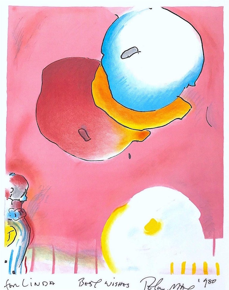 TWO FLOATING, Original Lithograph, Warm Pink, Yellow, Blue, Upbeat Abstract  - Print by Peter Max