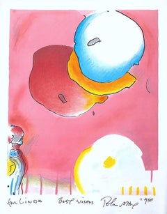 TWO FLOATING, Original Lithograph, Warm Pink, Yellow, Blue, Upbeat Abstract