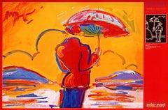 Umbrella Man At Sea, Offset Lithograph - SIGNED