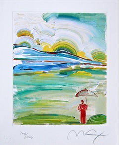 Umbrella Man at Sunrise, Limited Edition Lithograph, Peter Max - SIGNED