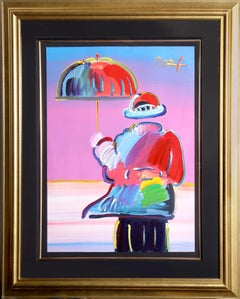 Umbrella Man, Mixed Media Painting by Peter Max