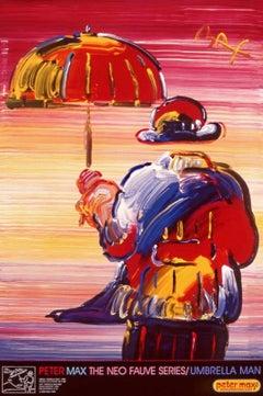 Umbrella Man, Original 1999 Lithograph, Peter Max -SIGNED