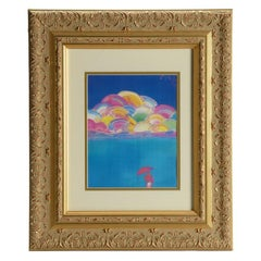 Umbrella Man with Rainbow Sky - Limited edition Lithograph by Peter Max