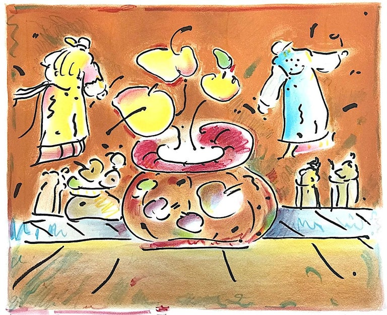 VASE IN ROOM II Signed Lithograph, Pop Art Interior, Brown Vase, Flying Lamas - Print by Peter Max