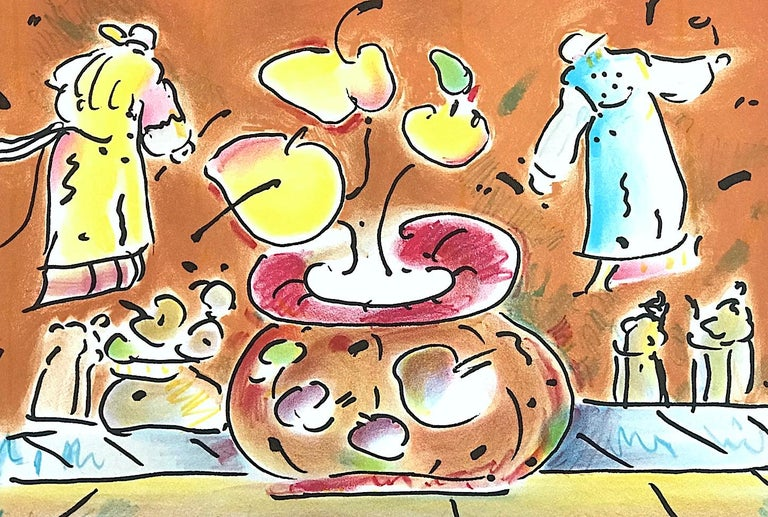 VASE IN ROOM II Signed Lithograph, Pop Art Interior, Brown Vase, Flying Lamas - Beige Figurative Print by Peter Max