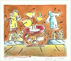 VASE IN ROOM II Signed Lithograph, Pop Art Interior, Brown Vase Levitating Monks