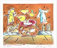 VASE IN ROOM II Signed Lithograph, Pop Art Interior, Brown Vase, Flying Lamas