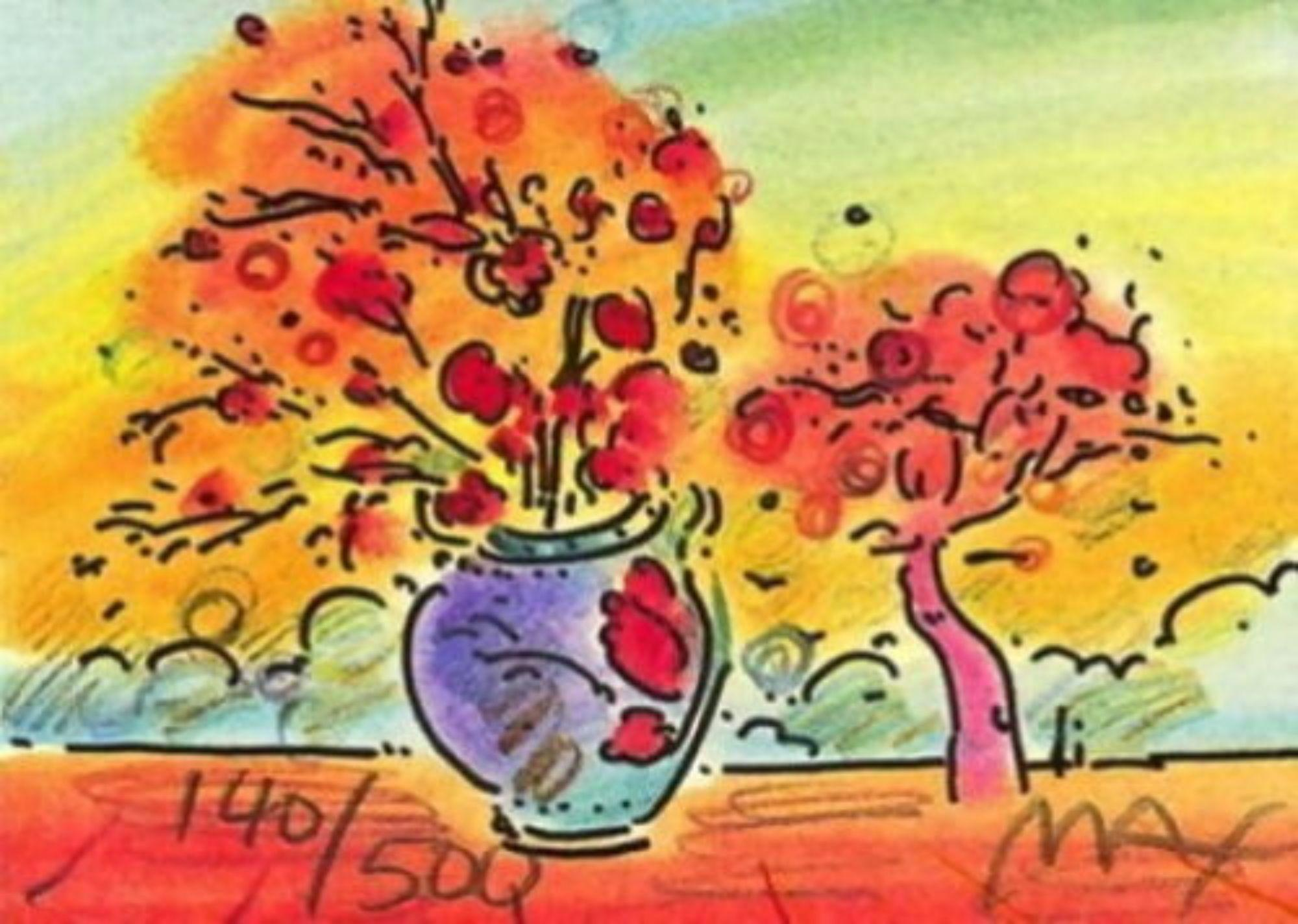 """Vase w/ Tree, Limited Edition Lithograph Mini 2"""" x 2.75"""" Peter Max SIGNED"""