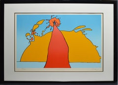 """Vintage Pop Art Original Signed & Numbered Peter Max Serigraph """"His Own Eclipse"""""""