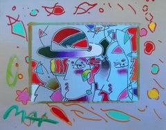 Zero Man in Love, Original Mixed Media Painting, Peter Max - SIGNED