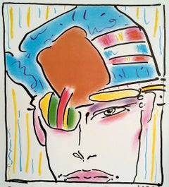 ZERO'S FRIEND Signed Color Lithograph, Androgynous Portrait, Neo-expressionist