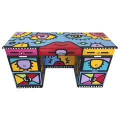 Peter Maxish One of a Kind Bold Painted Desk by Billy the Artist