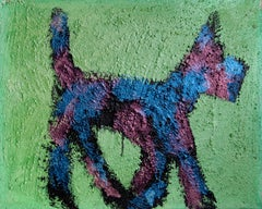 Dog (Blue and Purple on Green)