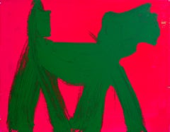 Dog (Green on Cerise), Pop Art Graffiti Painting