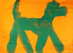 Dog (Green on Orange), Pop Art Graffiti Painting