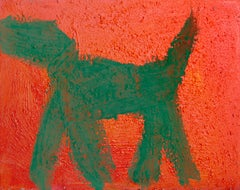Dog (Green on Red), Pop Art Graffiti Painting