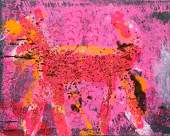 Dog (Orange on Pink and Black)