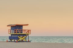 """""""35th St. Miami Lifeguard Stand at Sunset,"""" Contemporary Photograph, 24"""" x 36"""""""