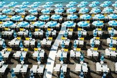 """""""Amalfi Beach Club Umbrellas I,"""" Contemporary Coastal Photograph, 30"""" x 45"""""""