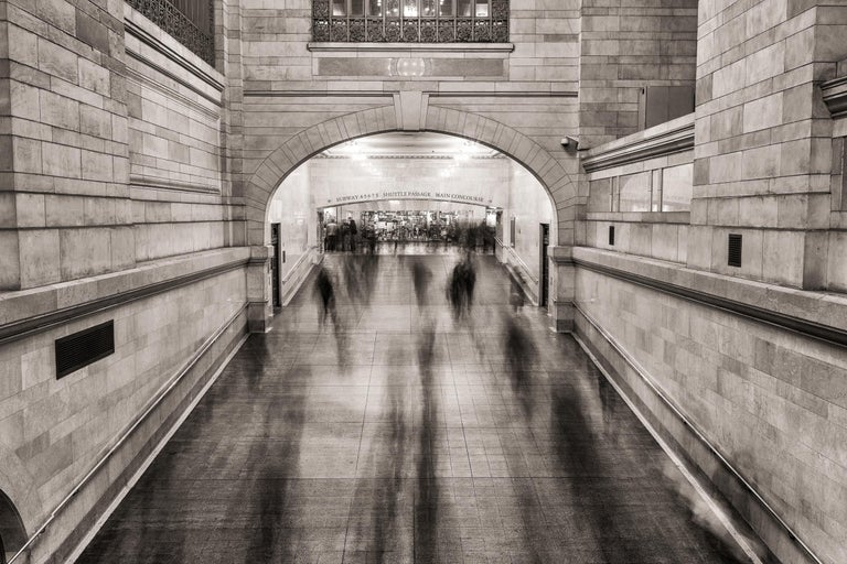 """Peter Mendelson Black and White Photograph - """"Grand Central Ghosts,"""" Urban Architectural Photograph, 30"""" x 45"""""""