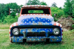 """Stars and Stripes,"" Contemporary American Flag Automobile Photograph, 30"" x 45"""