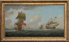 18th Century Monamy Oil Painting Seascape - Shipping off St. Helier, Jersey