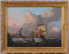 18th Century seascape oil painting of English naval ships & boats off a coast
