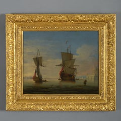 Peter Monamy (1681-1749) An English Two-decker and Yacht at Anchor