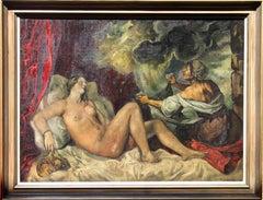 Danae - British Post Impressionist oil painting Greek mythology reclining nude