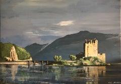 Eilean Donan Castle Scotland Large Signed Oil Painting