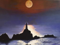 Lighthouse at Night, Silhouette Landscape Large Signed Oil Painting
