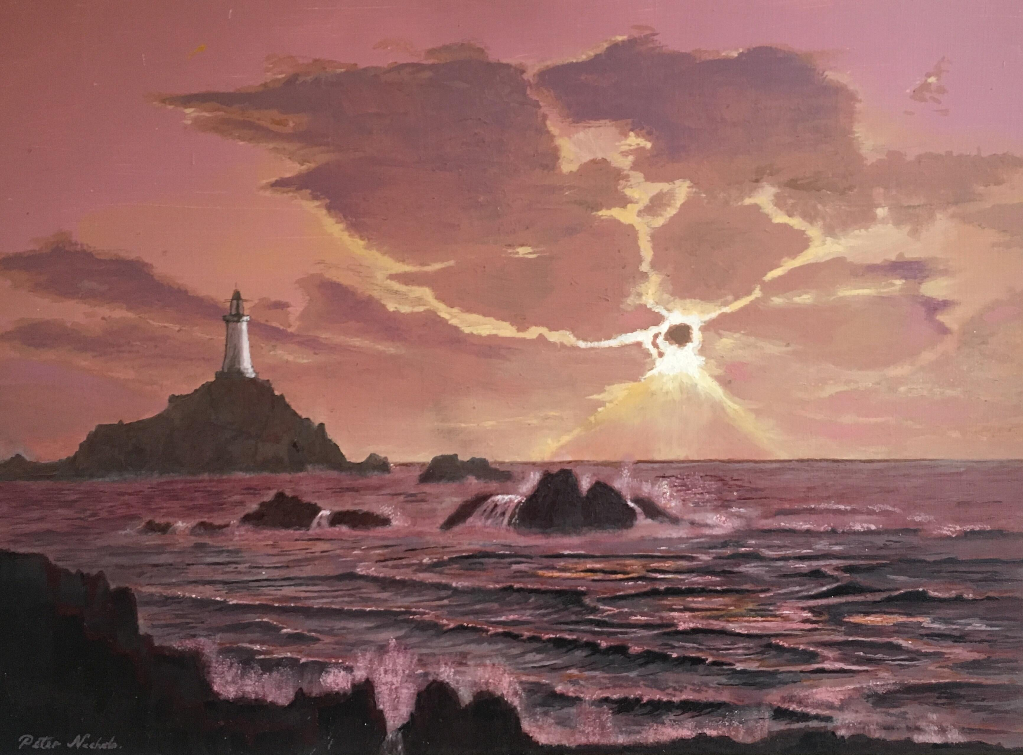 The Lighthouse, Sunset Landscape Large Signed Oil Painting