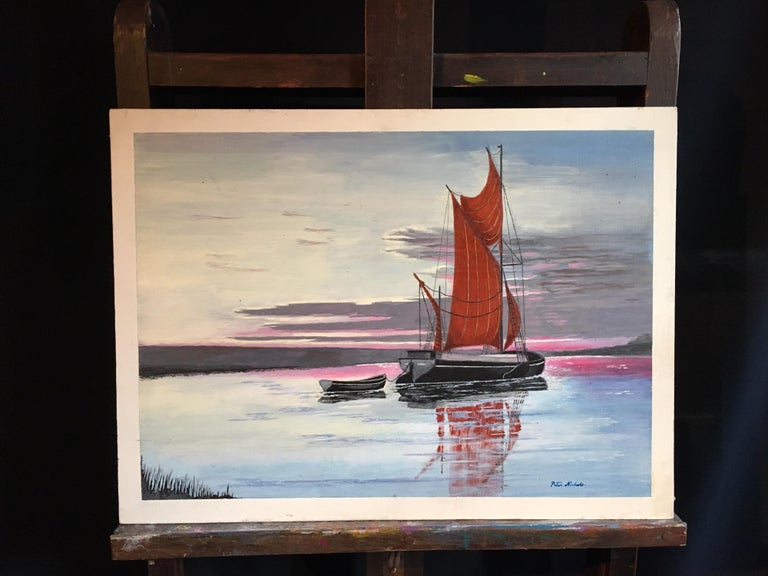 The Red Sail, Sunset Nautical Landscape Large Signed Oil Painting - Gray Landscape Painting by Peter Nichols
