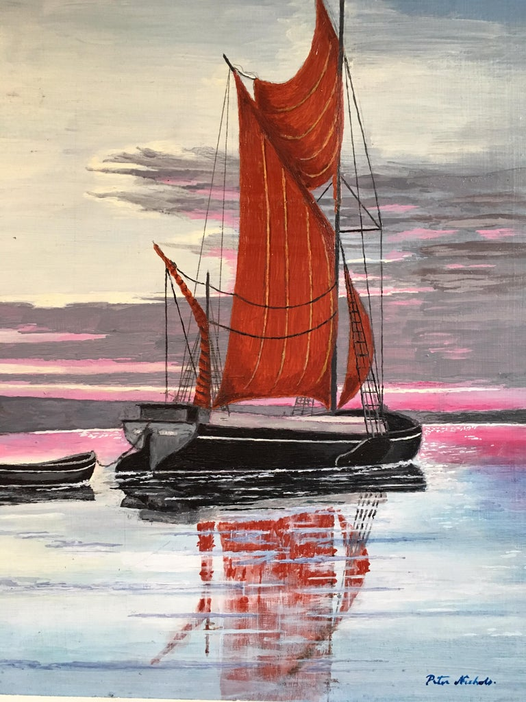 The Red Sail, Sunset Nautical Landscape Large Signed Oil Painting For Sale 1