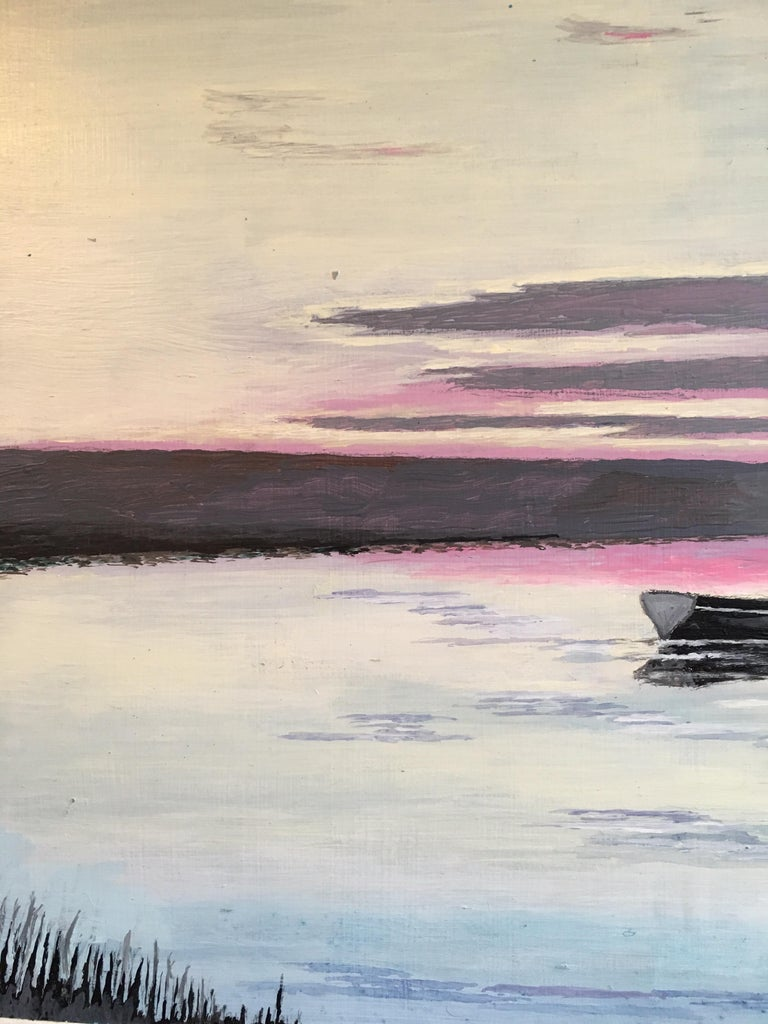 The Red Sail, Sunset Nautical Landscape Large Signed Oil Painting For Sale 2