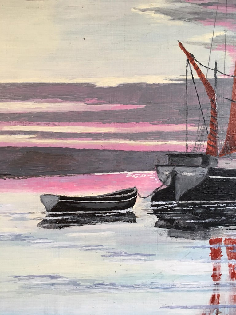 The Red Sail, Sunset Nautical Landscape Large Signed Oil Painting For Sale 3