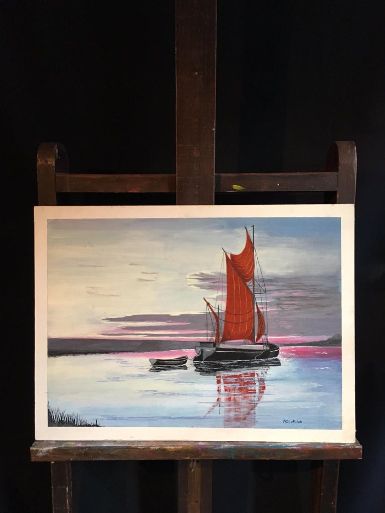 The Red Sail, Sunset Nautical Landscape Large Signed Oil Painting For Sale 4