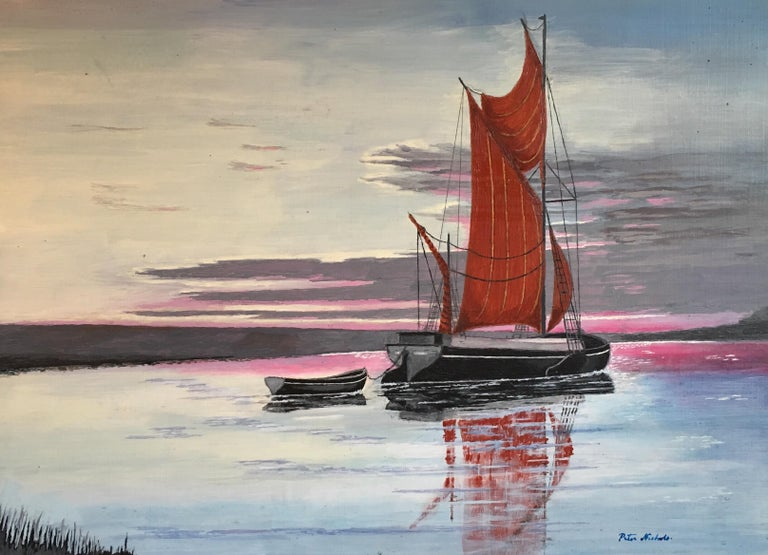 Peter Nichols Landscape Painting - The Red Sail, Sunset Nautical Landscape Large Signed Oil Painting