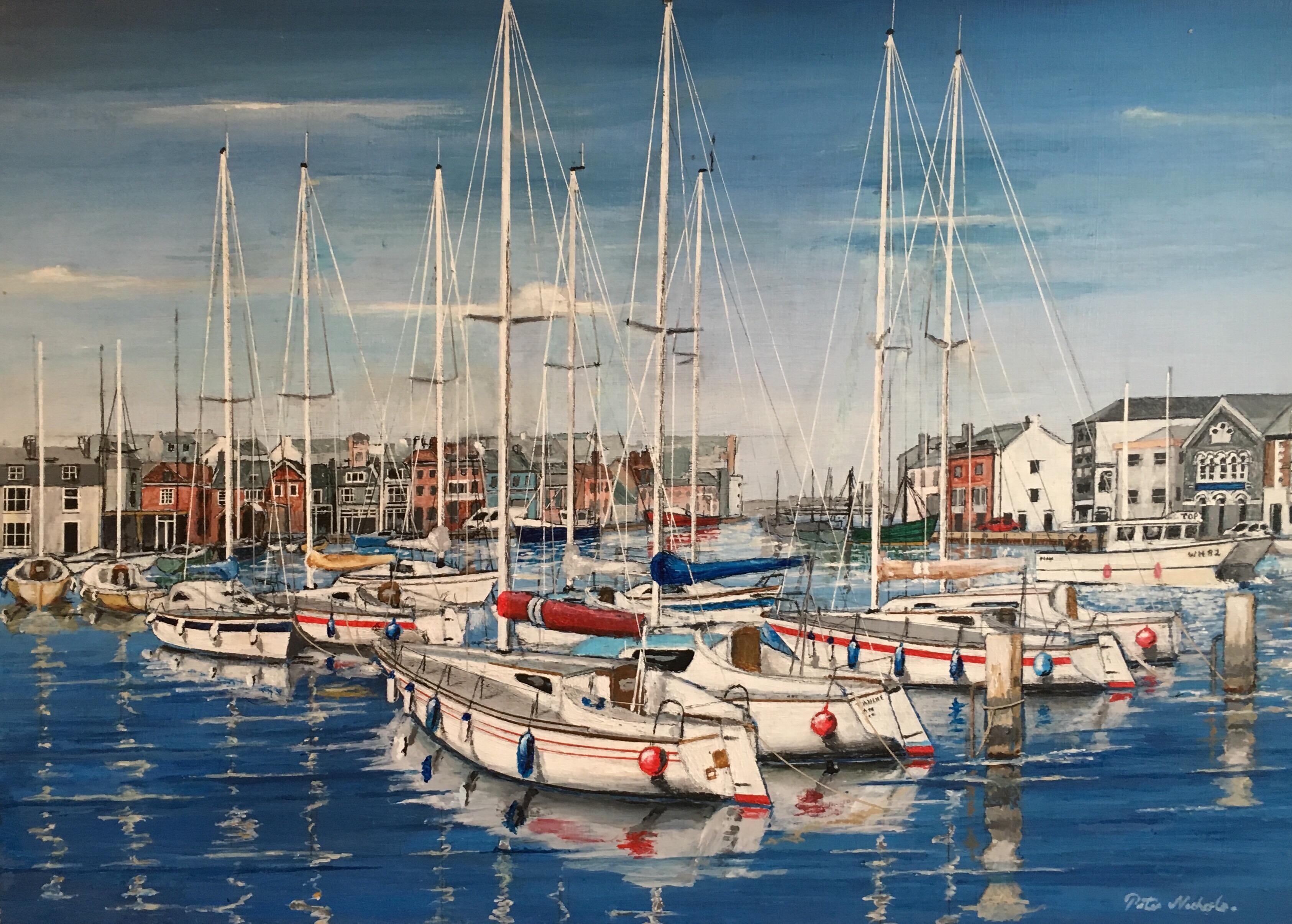 Yachts in Harbour, Nautical Themed Landscape Large Signed Oil Painting