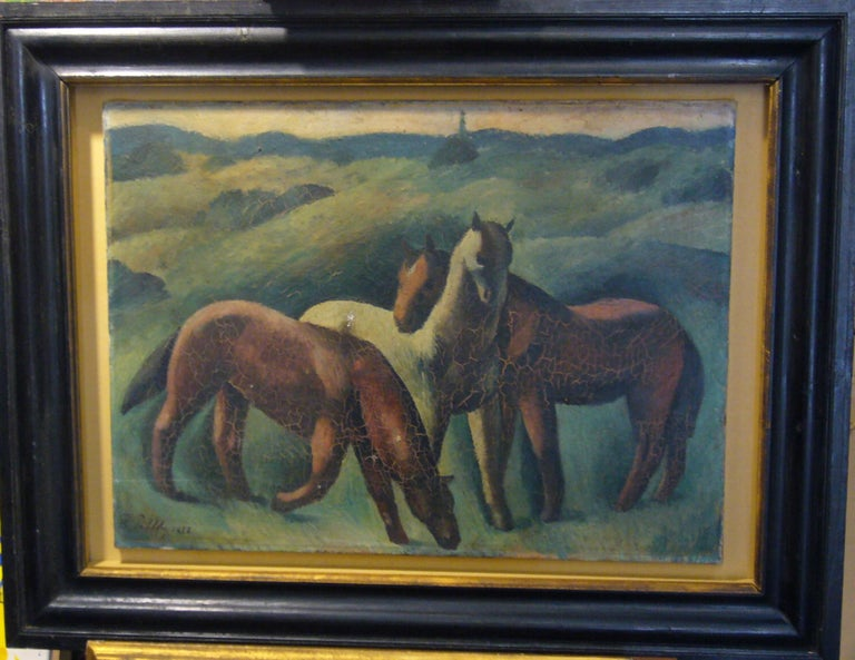 Chevaux - Expressionist Painting by Peter Pálffy