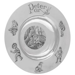 Peter Pan Engraved Sterling Silver Armada Dish by R. E. Stone