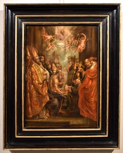 Dispute On The Eucharist Rubens Paint Old master Oil on table 17th Century Italy