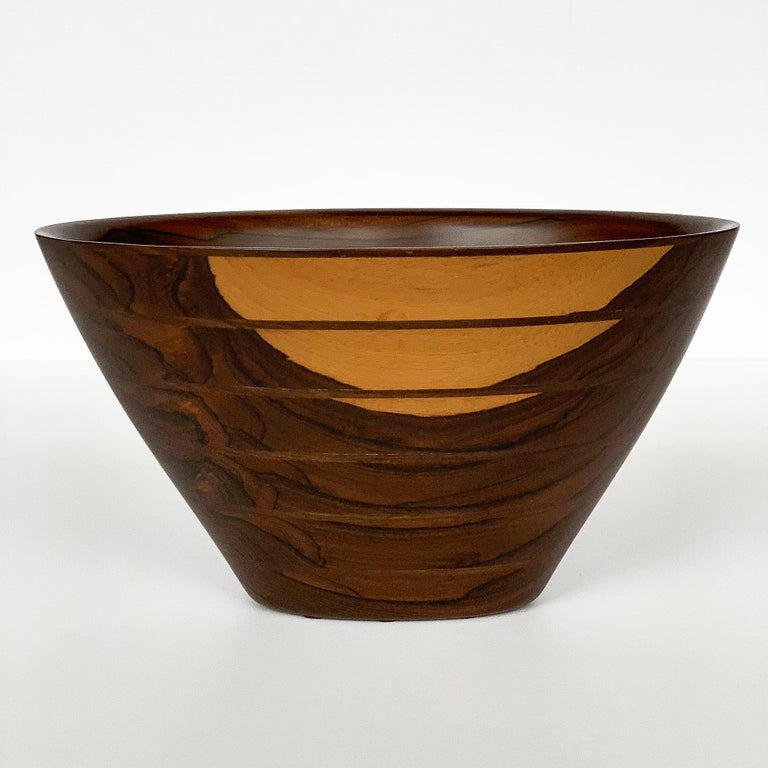 Peter Petrochko Carved Padauk and Ziricote Wood Bowl For Sale 5