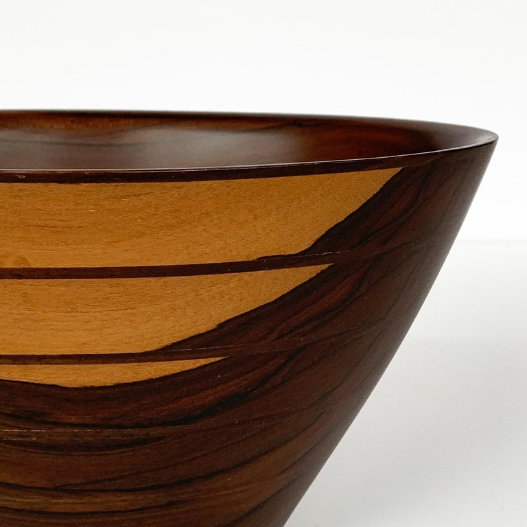 Peter Petrochko Carved Padauk and Ziricote Wood Bowl For Sale 10