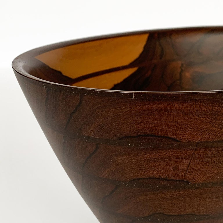 Peter Petrochko Carved Padauk and Ziricote Wood Bowl For Sale 11