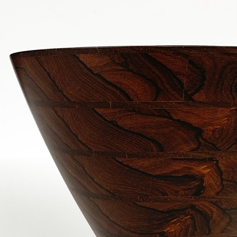 Peter Petrochko Carved Padauk and Ziricote Wood Bowl For Sale 12